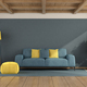 Blue living room with sofa and wooden ceiling - PhotoDune Item for Sale