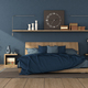 Blue modern bedroom with wooden double bed - PhotoDune Item for Sale