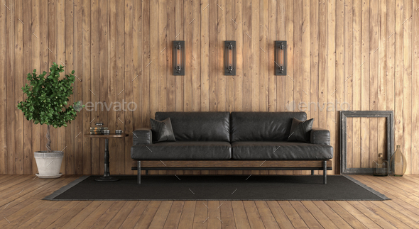 Wooden room with retro black sofa - Stock Photo - Images