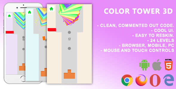 Color Tower 3D. Mobile, Html5 Game .c3p (Construct 3)