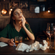 Drunk depressed woman at the counter in bar - PhotoDune Item for Sale
