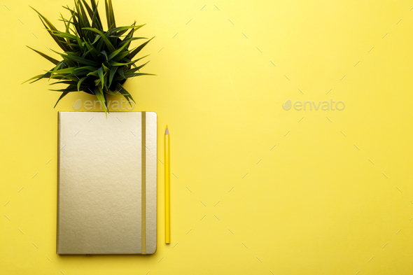 Golden notepad and pencil on yellow trendy background - Stock Photo - Images
