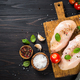 Chicken fillet with herbs and spices at wooden table - PhotoDune Item for Sale