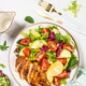 Healthy salad with Grilled chicken fillet on white - PhotoDune Item for Sale