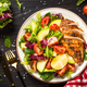 Grilled chicken with fresh salad at wooden table - PhotoDune Item for Sale