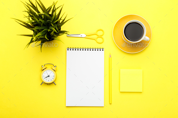 Office stationary flat lay on yellow trendy background - Stock Photo - Images