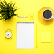 Office stationary flat lay on yellow trendy background - PhotoDune Item for Sale