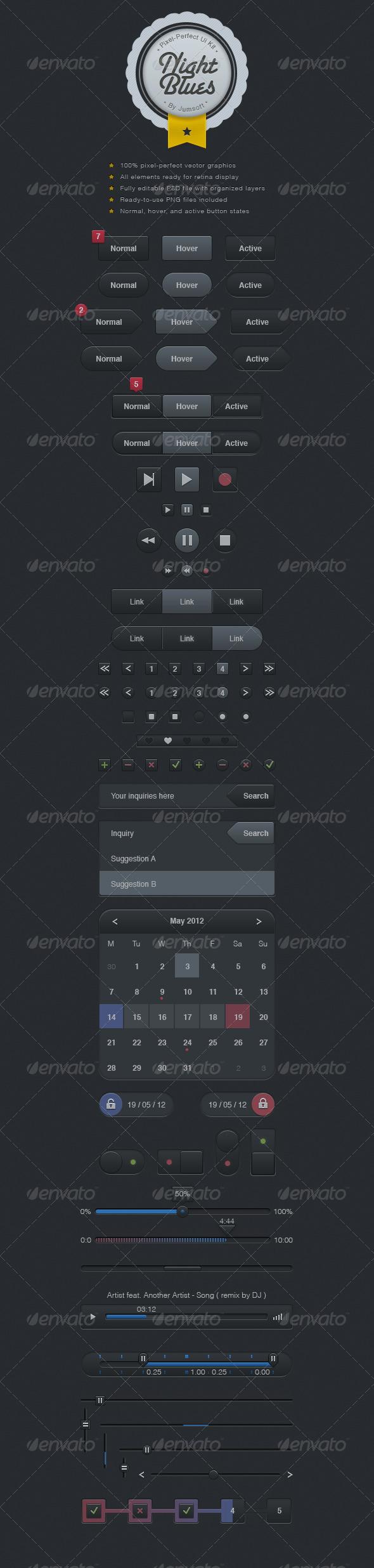 Night Blues UI Kit - User Interfaces Web Elements