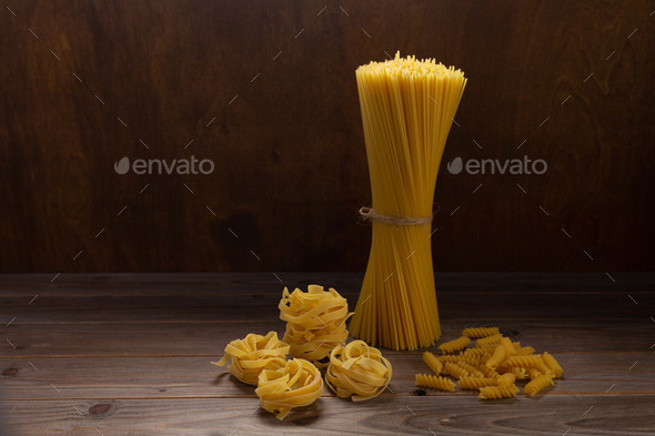 Pasta collection food on wooden table background front view - Stock Photo - Images