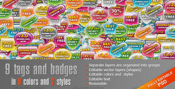 Glass Tags and Badges - Web Elements