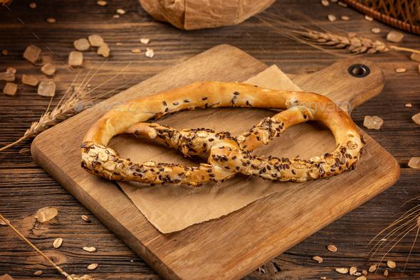 Freshly baked pretzel - Stock Photo - Images