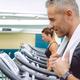 Portrait of man training over treadmill - PhotoDune Item for Sale