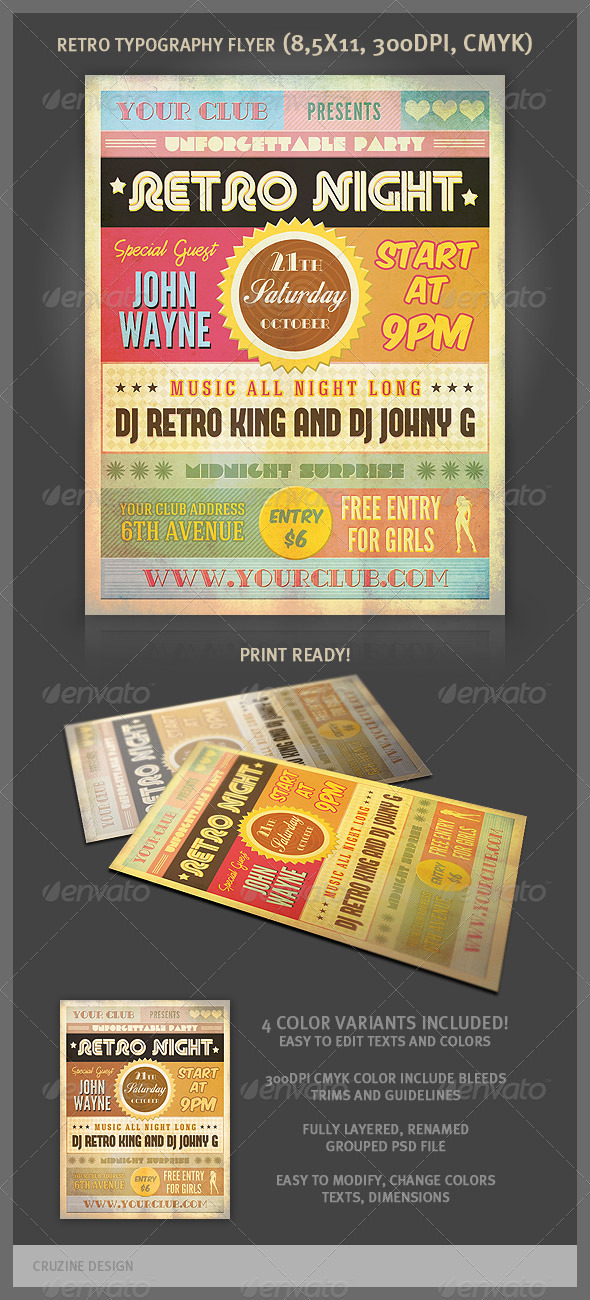 Retro Typography Party Flyer - Clubs & Parties Events