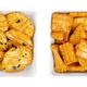 Senbei, Japanese rice crackers, crispy snacks, in white square bowls - PhotoDune Item for Sale