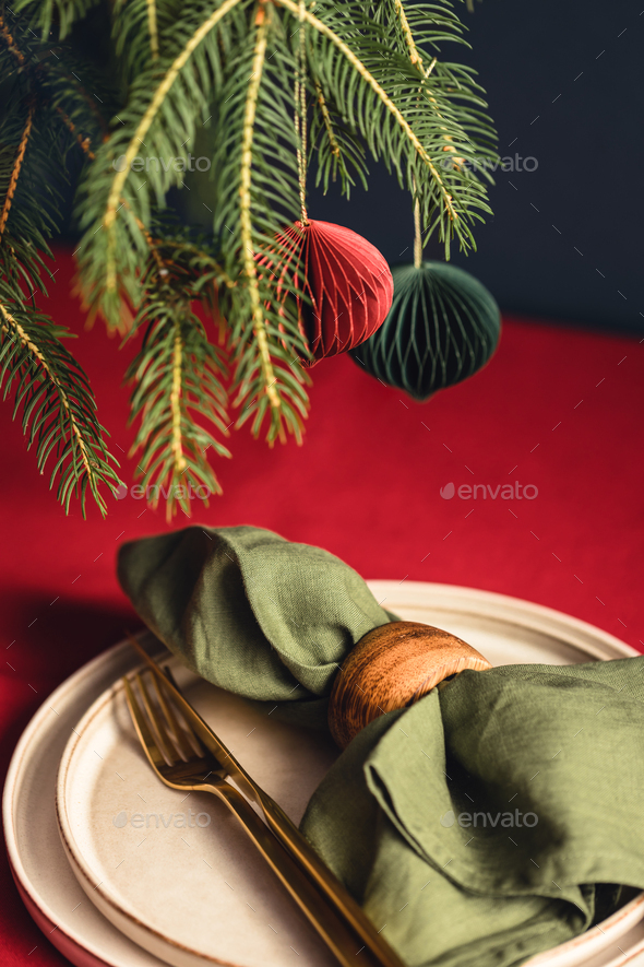 Christmas Table Setting with Spruce Branches. - Stock Photo - Images