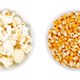 Popped and unpopped popcorn, a popular snack in white bowls - PhotoDune Item for Sale