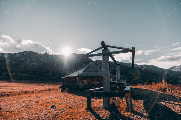 Fall mountain scenery with a hut - Stock Photo - Images