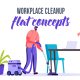 Workplace cleanup - Flat Concept - VideoHive Item for Sale
