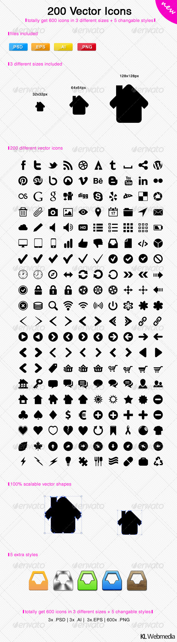 200 Vector Icons - Media Icons