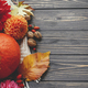 Beautiful autumn flat lay with space for text. Pumpkins, autumn flowers, leaves on rustic wood - PhotoDune Item for Sale