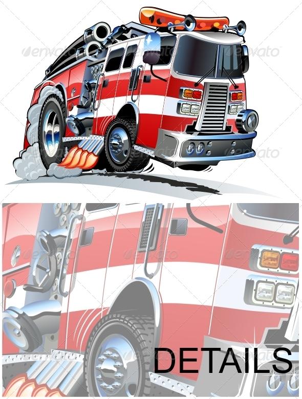 Vector Cartoon Fire Truck - Objects Illustrations