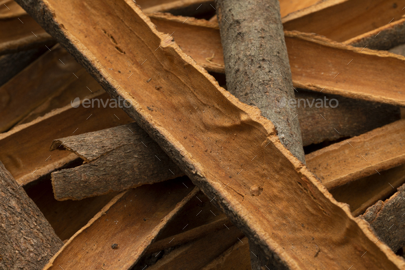Dried Cinnamon bark close up full frame - Stock Photo - Images