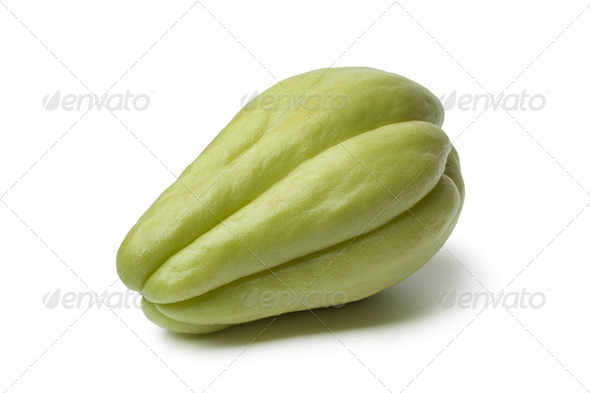 Whole single fresh chayote - Stock Photo - Images