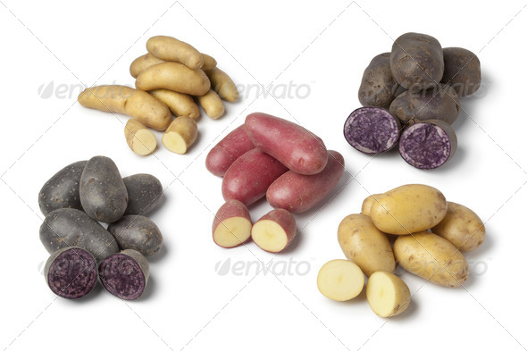 Variety of heirloom potatoes - Stock Photo - Images