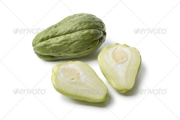 Whole and partial chayote - Stock Photo - Images