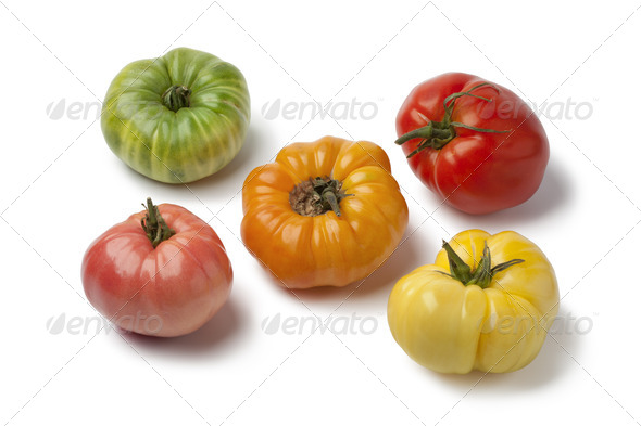 Diversity of beefheart tomatoes - Stock Photo - Images