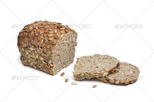 Pumpkin seed bread and slices - Stock Photo - Images