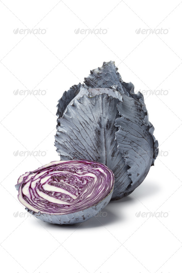 Fresh whole and half red cabbage - Stock Photo - Images