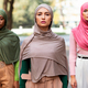Serious Arab Female Standing In Front Of Diverse Ladies Outside - PhotoDune Item for Sale