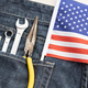 Set of tools and american flag in jeans pocket - PhotoDune Item for Sale