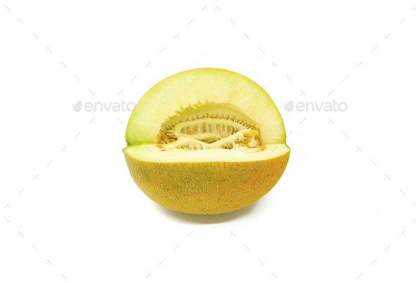 Cut melon with seeds on white background - Stock Photo - Images