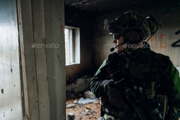 Military men with arms defending the building. Soldier stand guard securing territory looking around - Stock Photo - Images