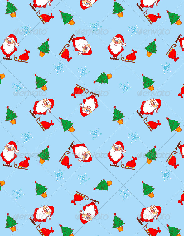 Christmas Seamless Pattern with Santa Claus - Patterns Decorative