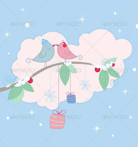 Christmas Background with Birds - Christmas Seasons/Holidays
