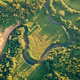 Fields and small narrow winding river aerial view - PhotoDune Item for Sale