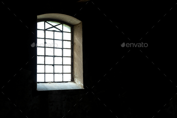 Bright window on the dark wall - Stock Photo - Images