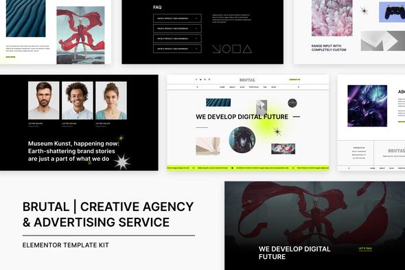 Brutal | Creative Agency & Advertising Service Elementor Template Kit