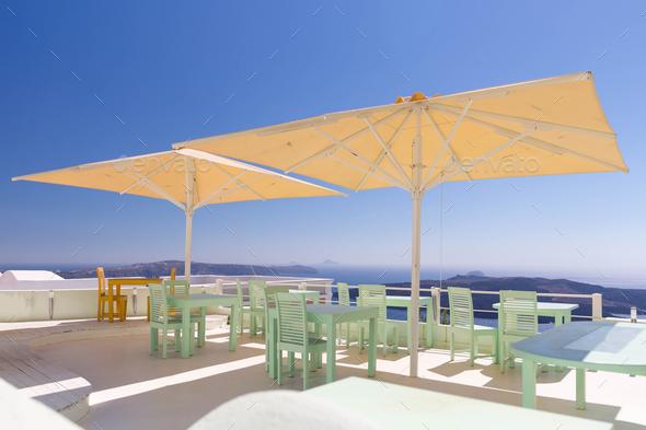 Empty restaurant, Santorini, Greece - Stock Photo - Images