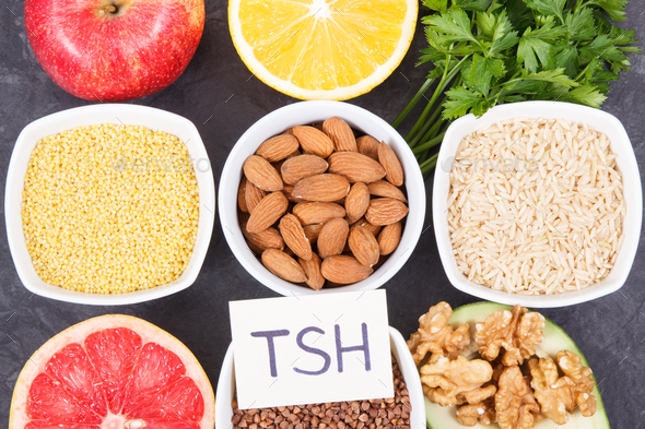 Dietary and beneficial eating for thyroid gland. Food containing vitamins and minerals - Stock Photo - Images