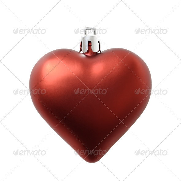 Christmas heart shaped matte finish red decoration isolated on white. - Stock Photo - Images