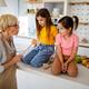 Grandmother is scolding her grandchildrens girls. Family, punishment, discipline concept - PhotoDune Item for Sale