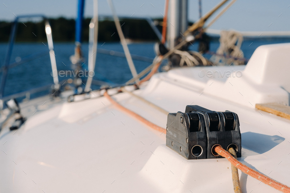 rope on the winch of a white yacht in the sea.yacht equipment - Stock Photo - Images