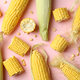 Fresh raw corn on pink background, top view - PhotoDune Item for Sale