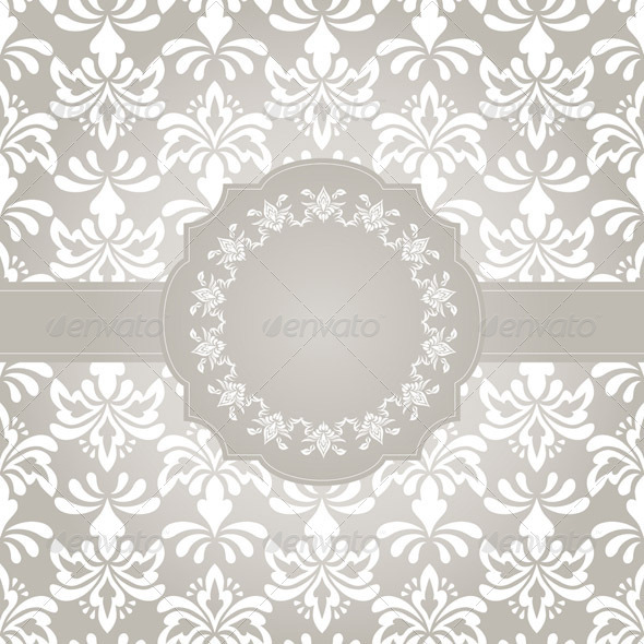 Vector Frame on Seamless Vintage Wallpaper Pattern - Patterns Decorative