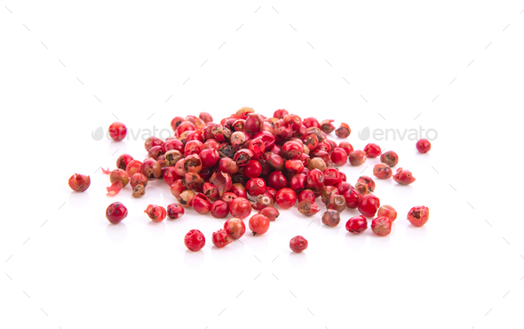 dried pink peppers isolated on white - Stock Photo - Images