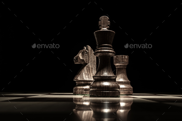 Chess game pieces and smoke - Stock Photo - Images